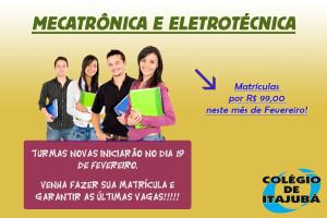 CORRA E GARANTA AS ÚLTIMAS VAGAS PARA OS CURSOS TÉCNICOS DE MECATRÔNICA E ELETROTÉCNICA!!!  Aulas que se iniciam em 19/02/2018.