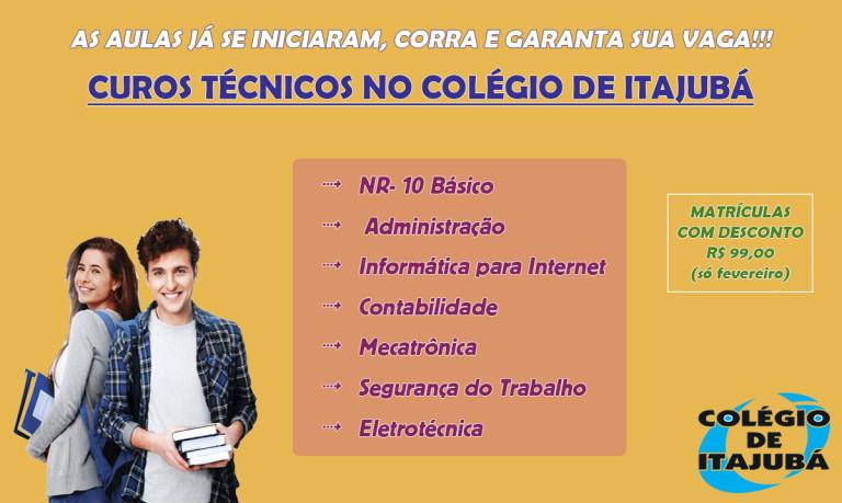 Os cursos técnicos no Colégio de Itajubá já se iniciaram! Corra e garanta sua vaga! Se especialize para o mercado de trabalho!!!!