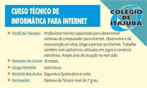 Criar blogs, construir sites, trabalhar com as redes sociais, estas são habilidades que um técnico em Informática para Internet adquire ao fazer este curso. Venha para o Colégio de Itajubá e seja um técnico em 18 meses. Matrículas abertas!!!