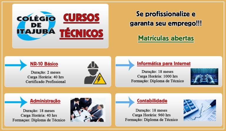 Venha estudar no Colégio de Itajubá e se profissionalizar para o mercado de trabalho! O Colégio de Itajubá oferece novos cursos técnicos para você! Veja na imagem abaixo.