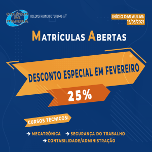 Promoção especial na Matrícula dos cursos técnicos!