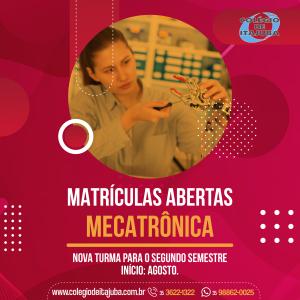 👉🏼 MATRÍCULAS ABERTAS - Mecatrônica