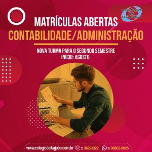 👉🏼 MATRÍCULAS ABERTAS - Contabilidade/Administração